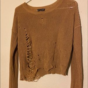 Forever 21 brown distressed crop top